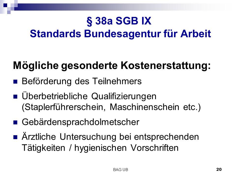 § 38a SGB IX Standards Bundesagentur für Arbeit