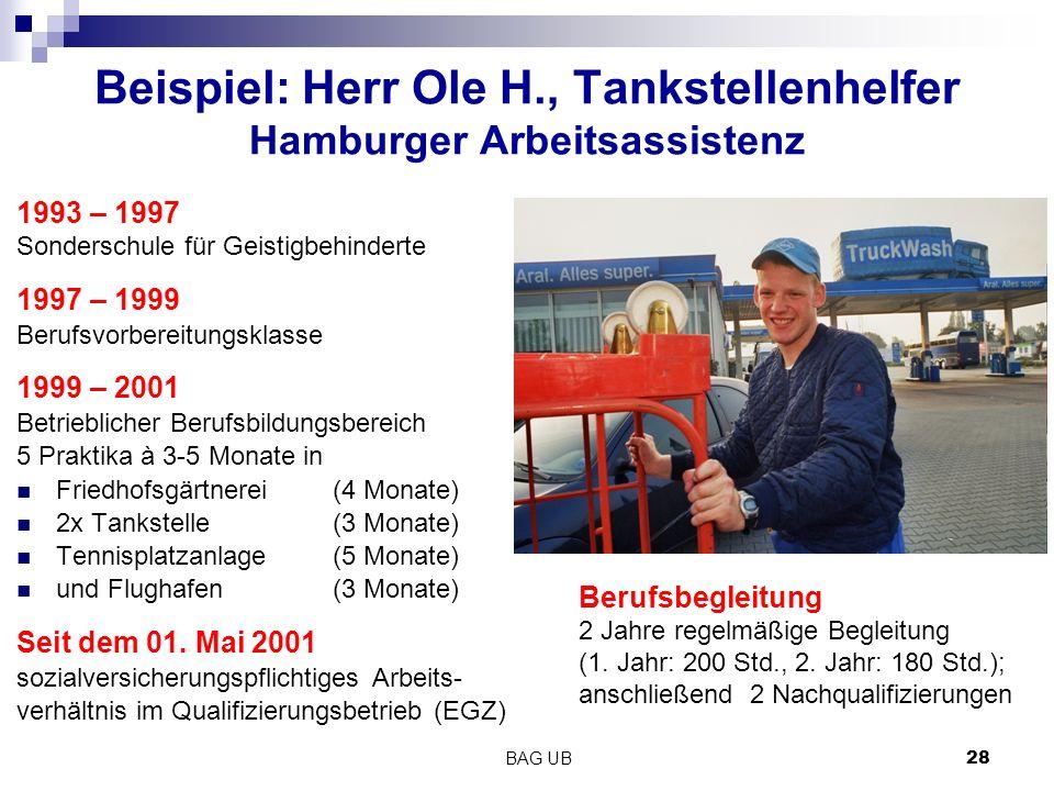 Beispiel: Herr Ole H., Tankstellenhelfer Hamburger Arbeitsassistenz
