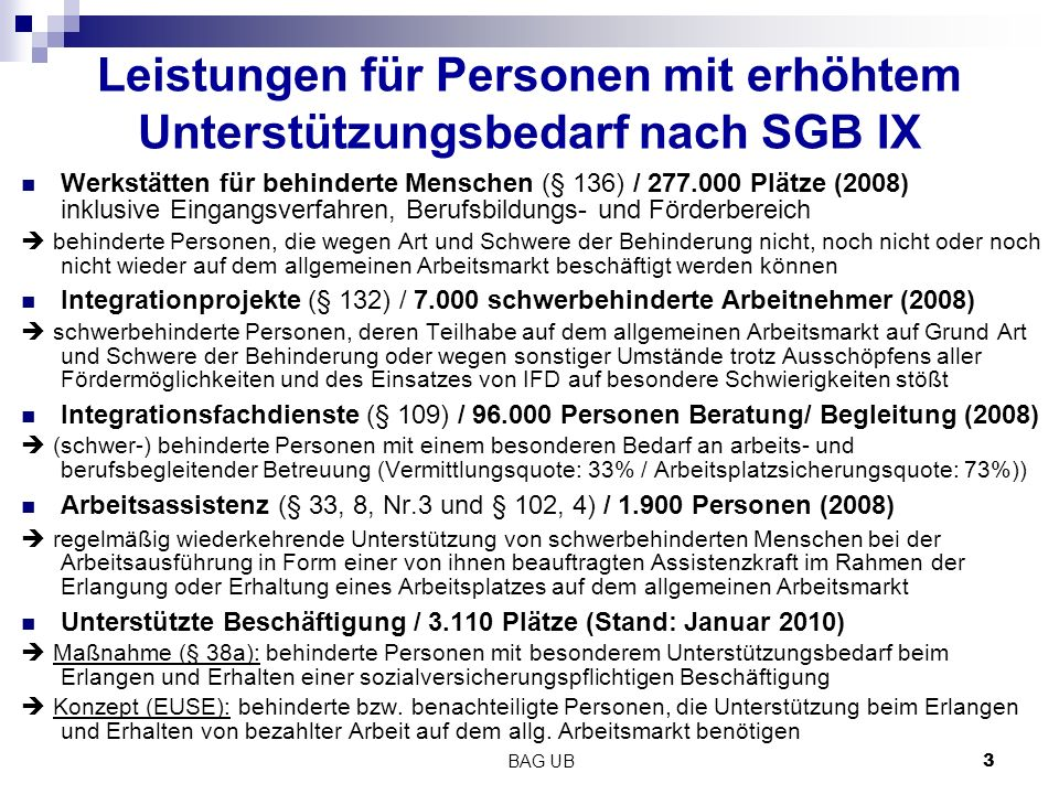 Leistungen für Personen mit erhöhtem Unterstützungsbedarf nach SGB IX