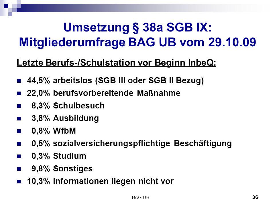 Umsetzung § 38a SGB IX: Mitgliederumfrage BAG UB vom 29.10.09