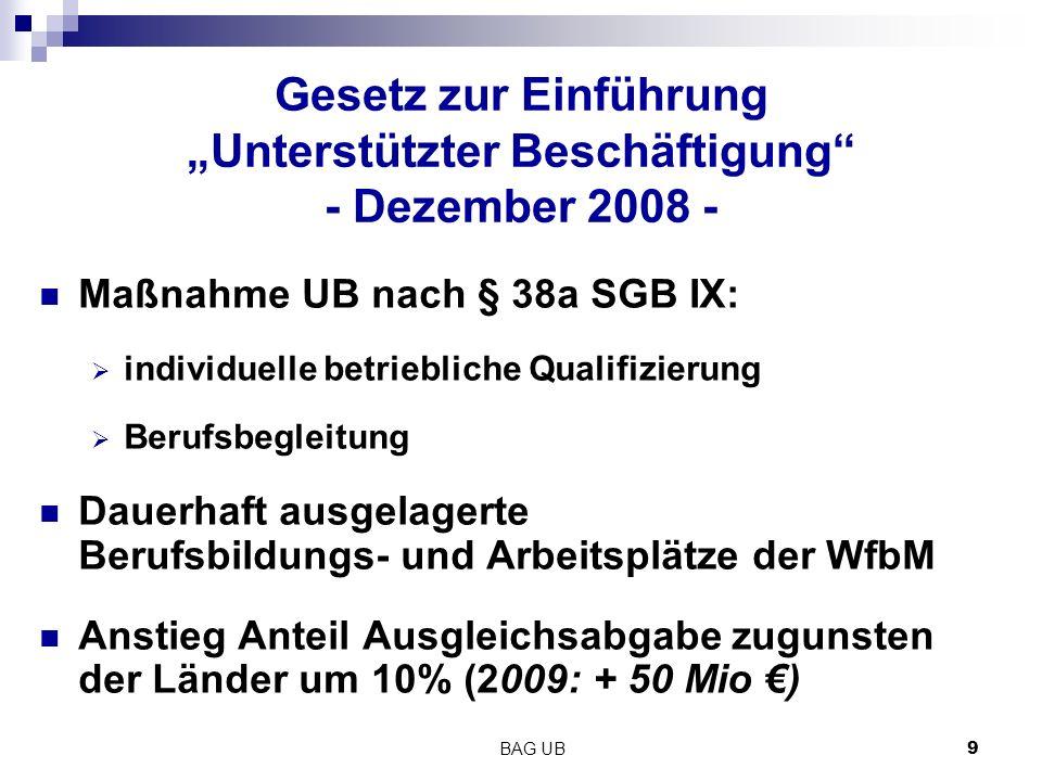 """Gesetz zur Einführung """"Unterstützter Beschäftigung - Dezember 2008 -"""
