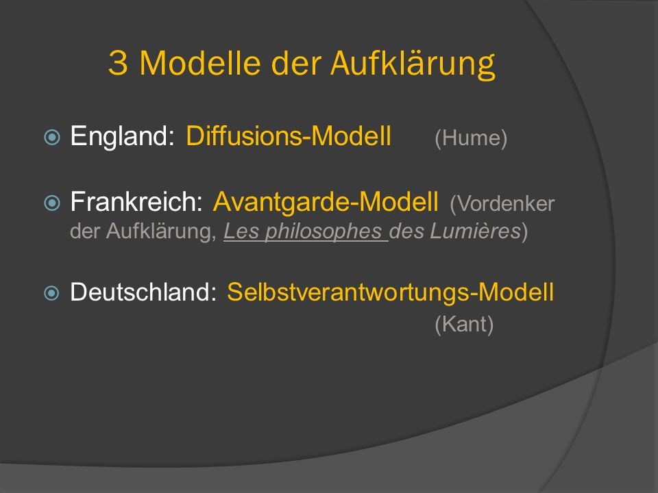 3 Modelle der Aufklärung