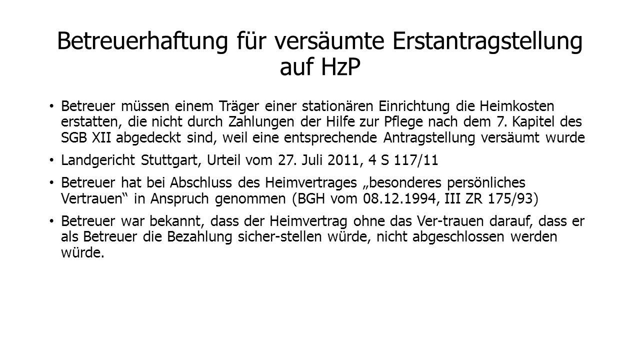 Betreuerhaftung für versäumte Erstantragstellung auf HzP