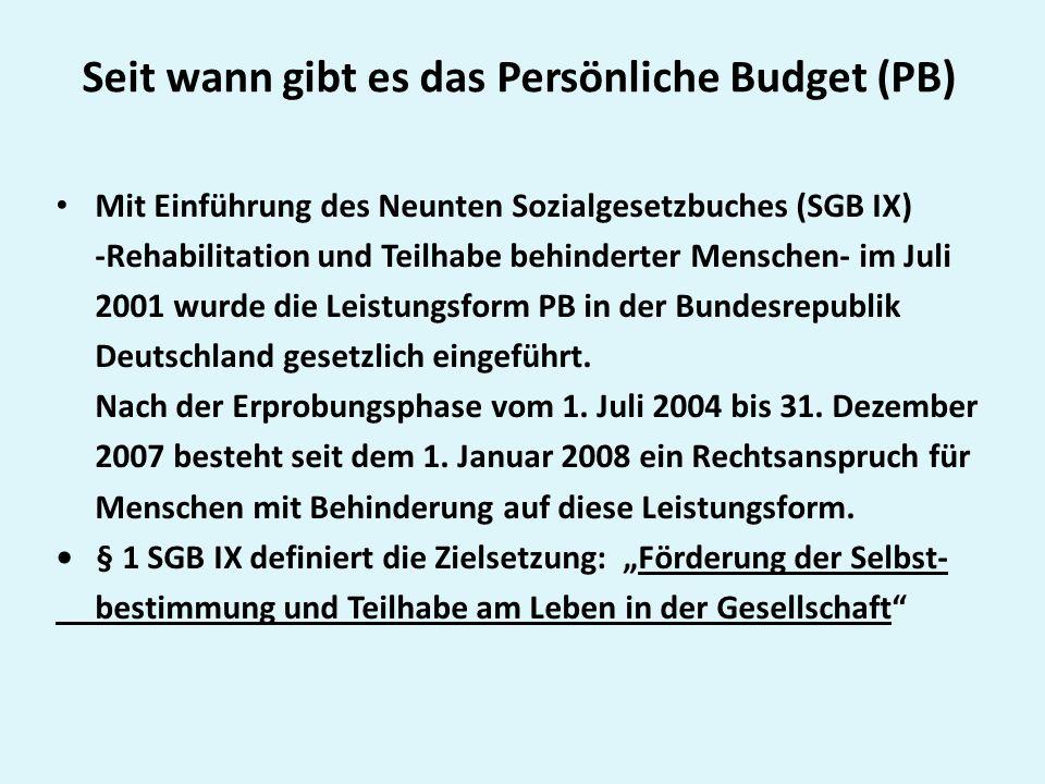 Seit wann gibt es das Persönliche Budget (PB)