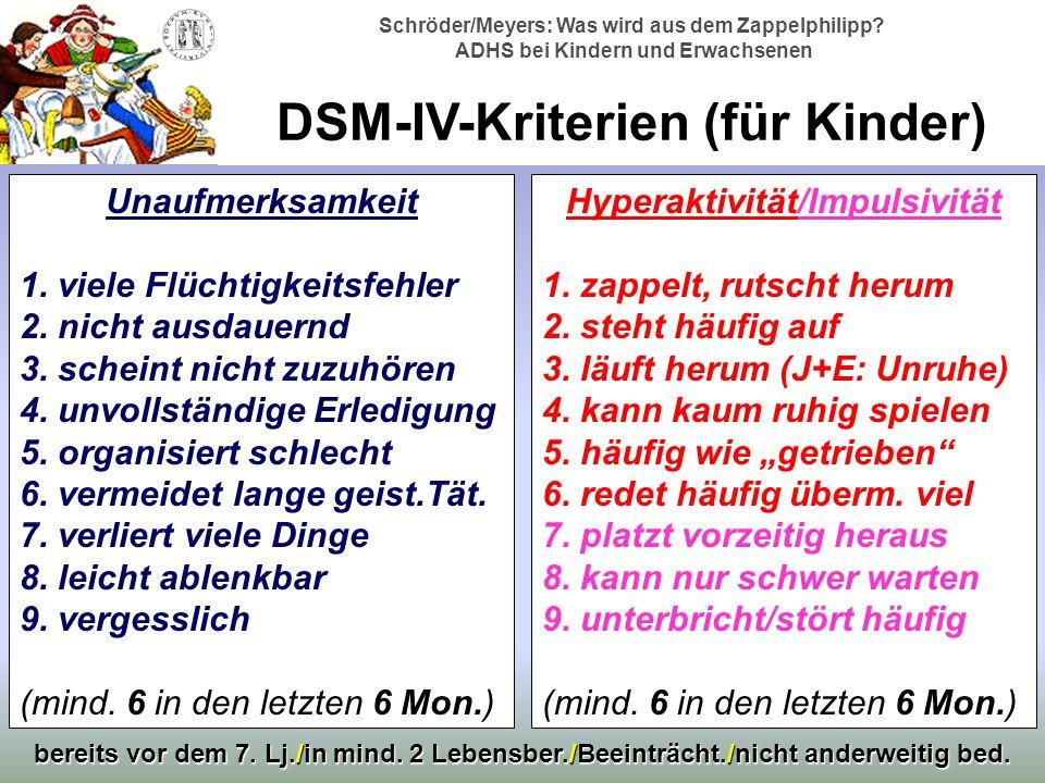 DSM-IV-Kriterien (für Kinder)