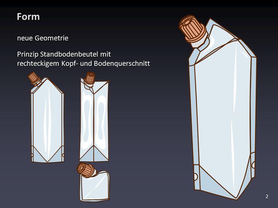 Form neue Geometrie Prinzip Standbodenbeutel mit rechteckigem Kopf- und Bodenquerschnitt
