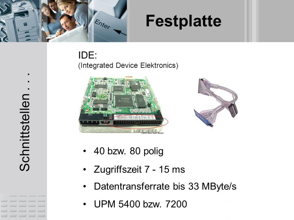 Schnittstellen . . . IDE: 40 bzw. 80 polig Zugriffszeit 7 - 15 ms