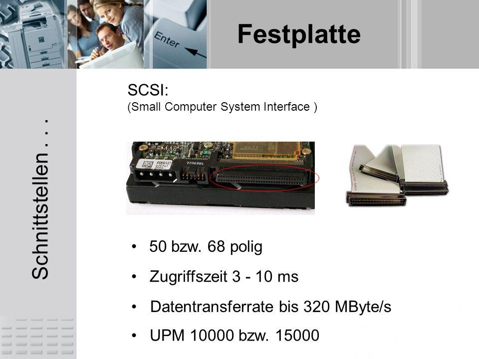 Schnittstellen . . . SCSI: 50 bzw. 68 polig Zugriffszeit 3 - 10 ms