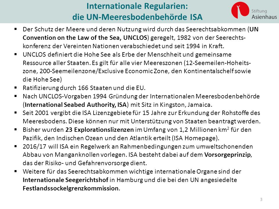 Internationale Regularien: die UN-Meeresbodenbehörde ISA
