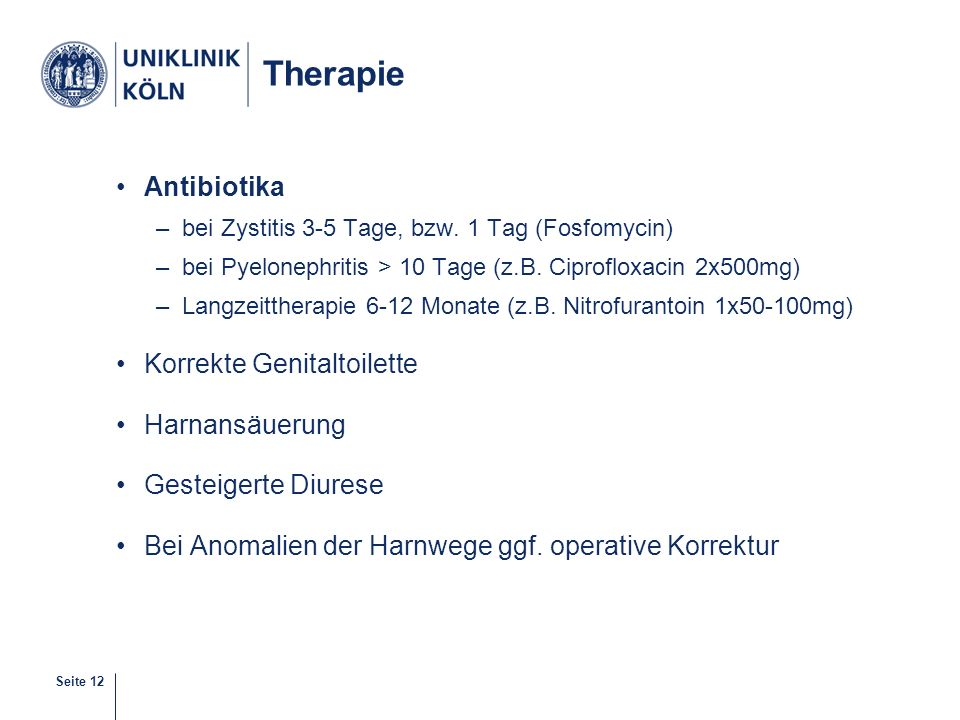 Therapie Antibiotika Korrekte Genitaltoilette Harnansäuerung