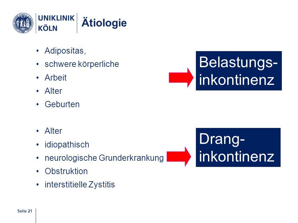 Belastungs- inkontinenz Drang- inkontinenz Ätiologie Adipositas,