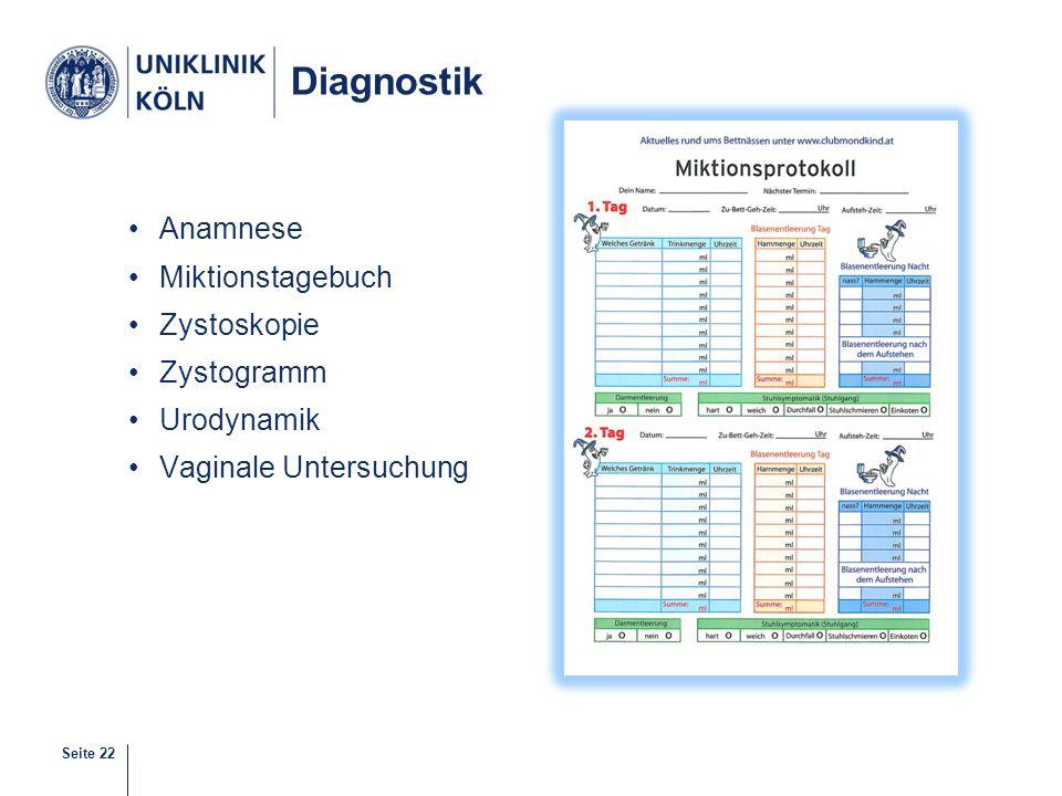Diagnostik Anamnese Miktionstagebuch Zystoskopie Zystogramm Urodynamik