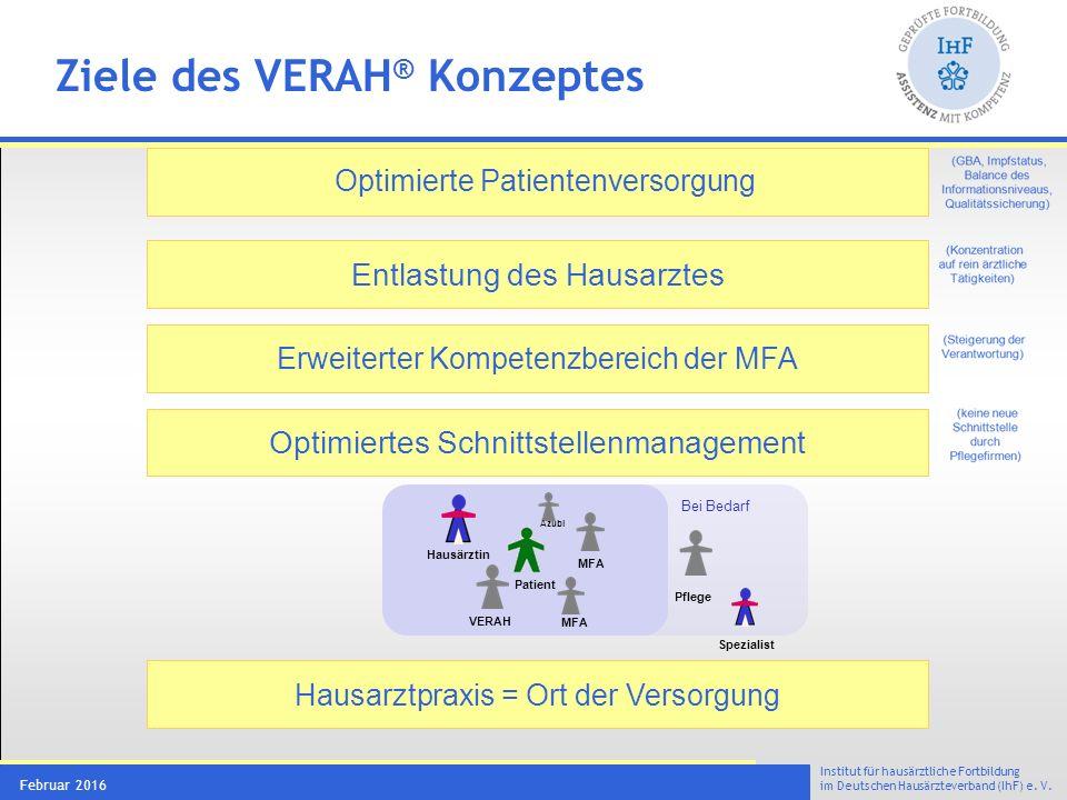 Das VERAH® Curriculum Versorgungsassistentin in der Hausarztpraxis - VERAH® 200 UE. 8 Managementmodule (160 UE) und Hospitationen (40 UE).