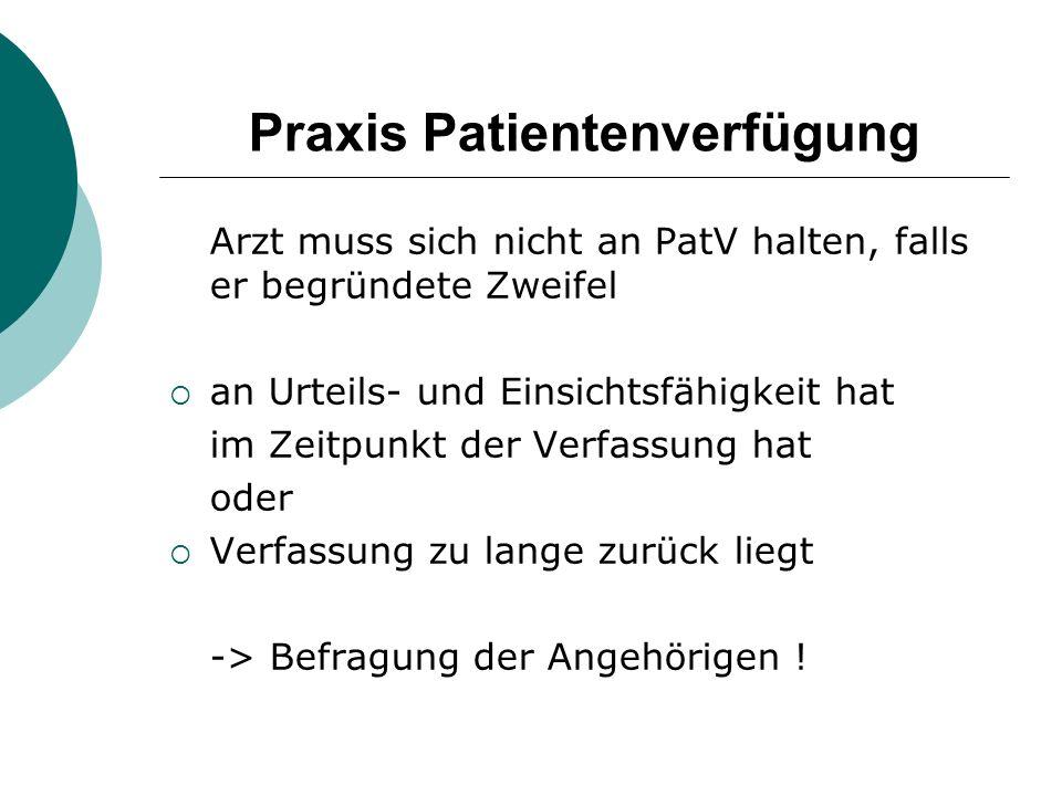 Praxis Patientenverfügung