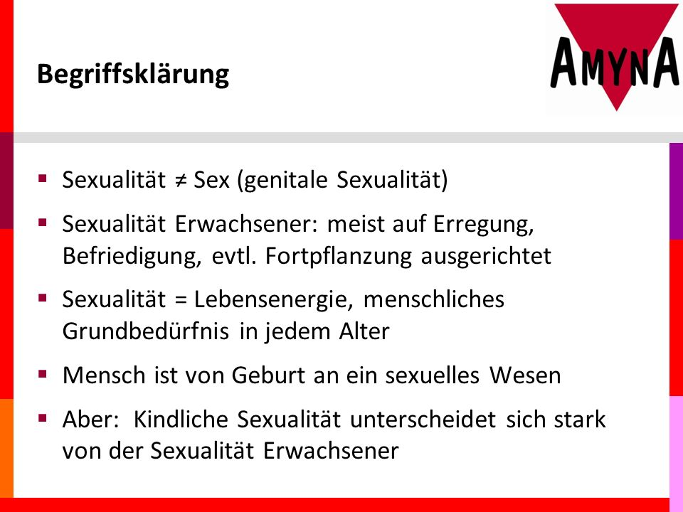 Begriffsklärung Sexualität ≠ Sex (genitale Sexualität)