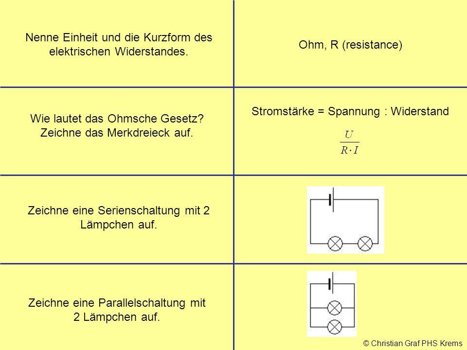 Nenne Einheit und die Kurzform des elektrischen Widerstandes.