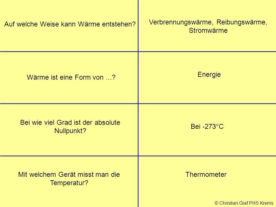 Verbrennungswärme, Reibungswärme, Stromwärme