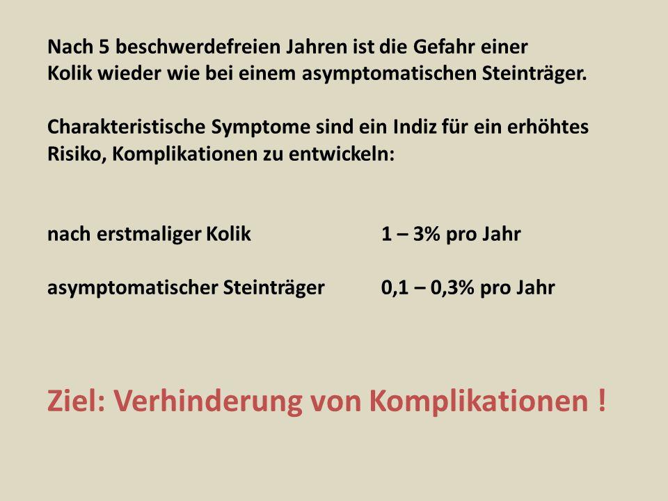 Ziel: Verhinderung von Komplikationen !