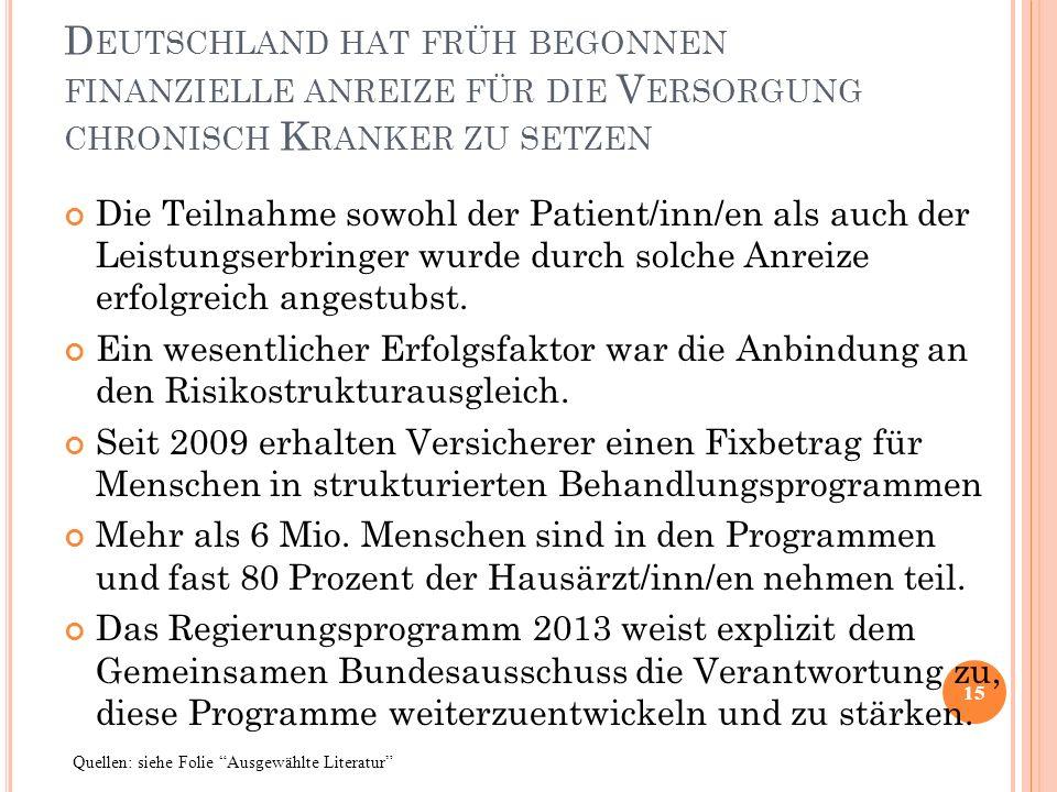 Deutschland hat früh begonnen finanzielle anreize für die Versorgung chronisch Kranker zu setzen