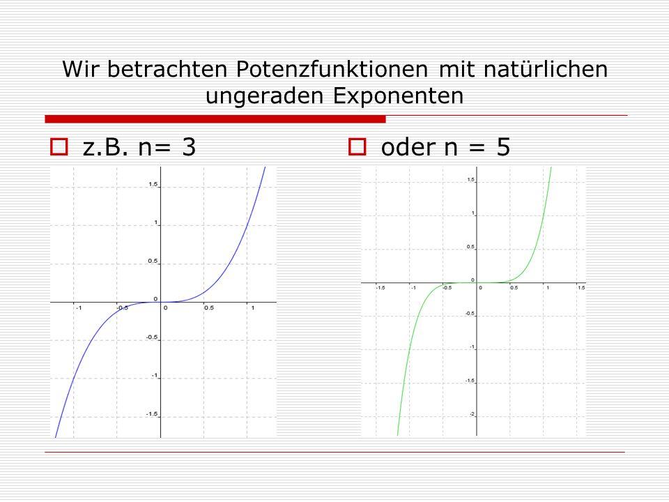 Wir betrachten Potenzfunktionen mit natürlichen ungeraden Exponenten