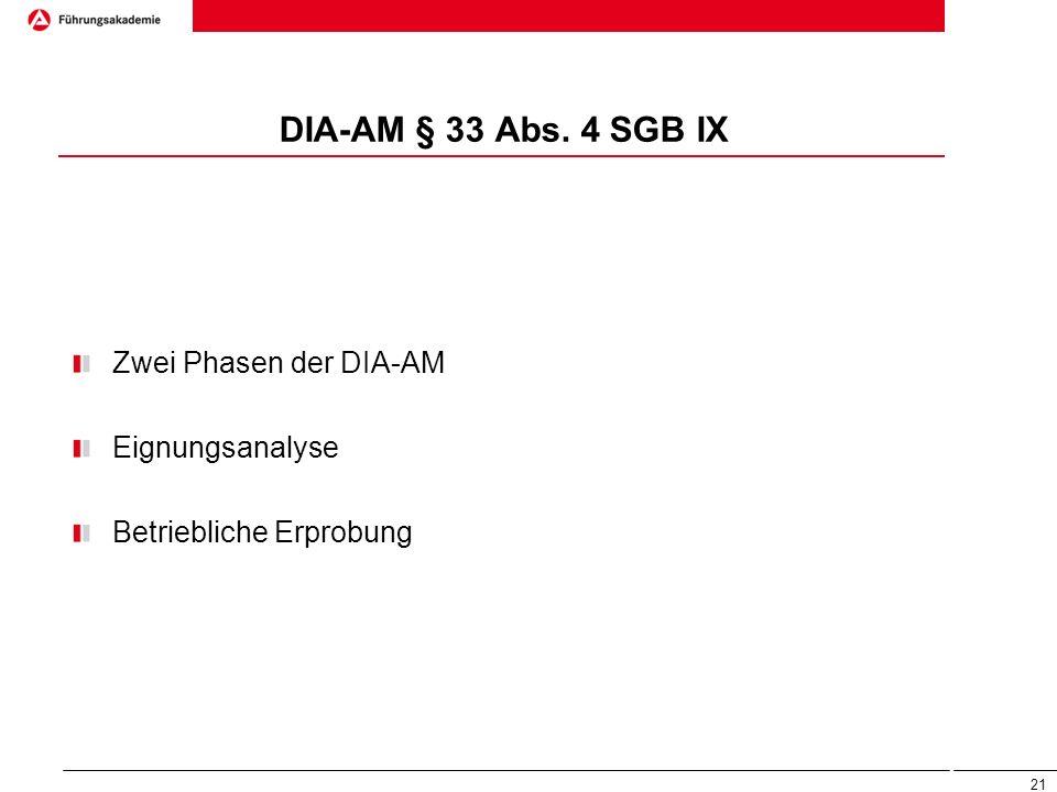 DIA-AM § 33 Abs. 4 SGB IX Zwei Phasen der DIA-AM Eignungsanalyse
