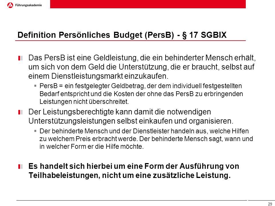 Definition Persönliches Budget (PersB) - § 17 SGBIX