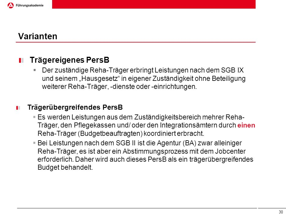 Varianten Trägereigenes PersB Trägerübergreifendes PersB