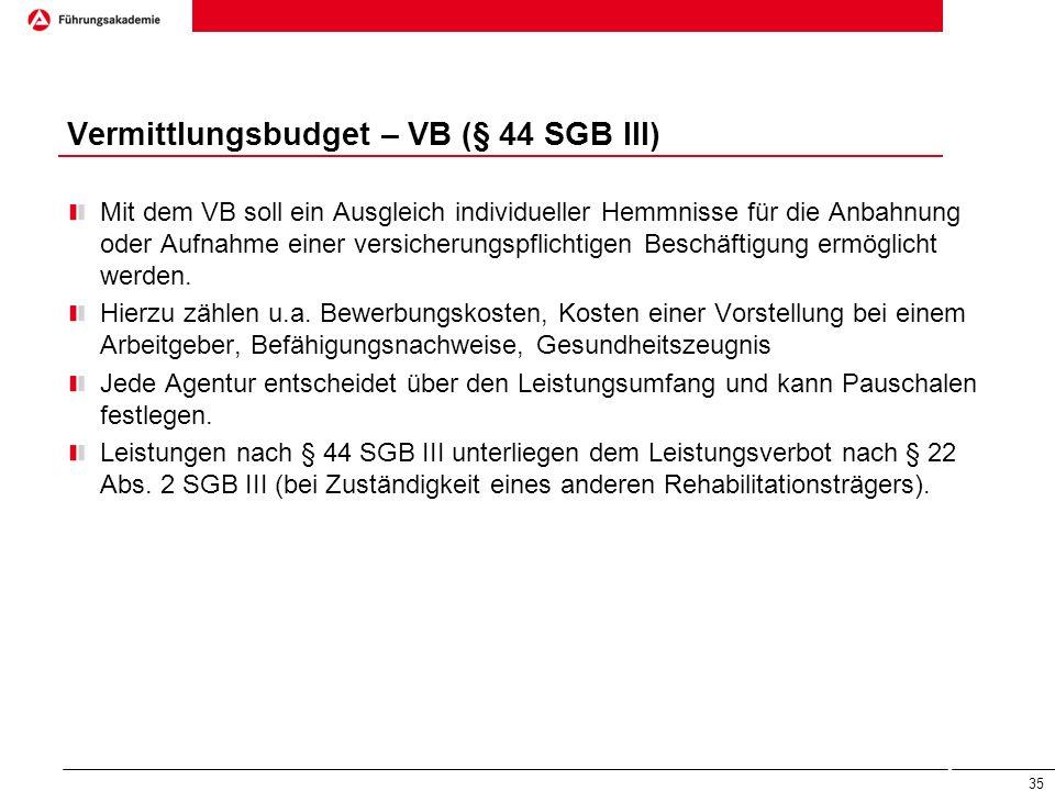 Vermittlungsbudget – VB (§ 44 SGB III)
