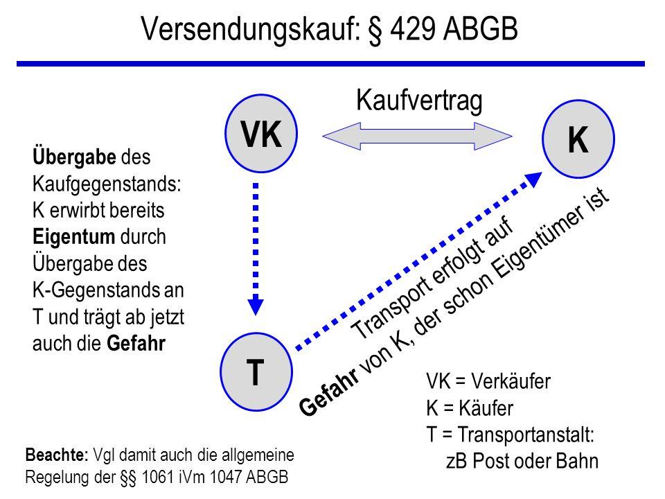 Versendungskauf: § 429 ABGB