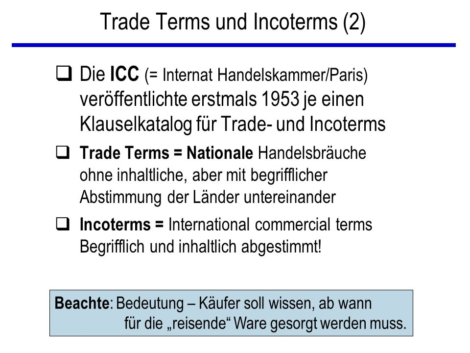 Trade Terms und Incoterms (2)