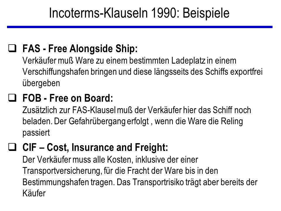 Incoterms-Klauseln 1990: Beispiele