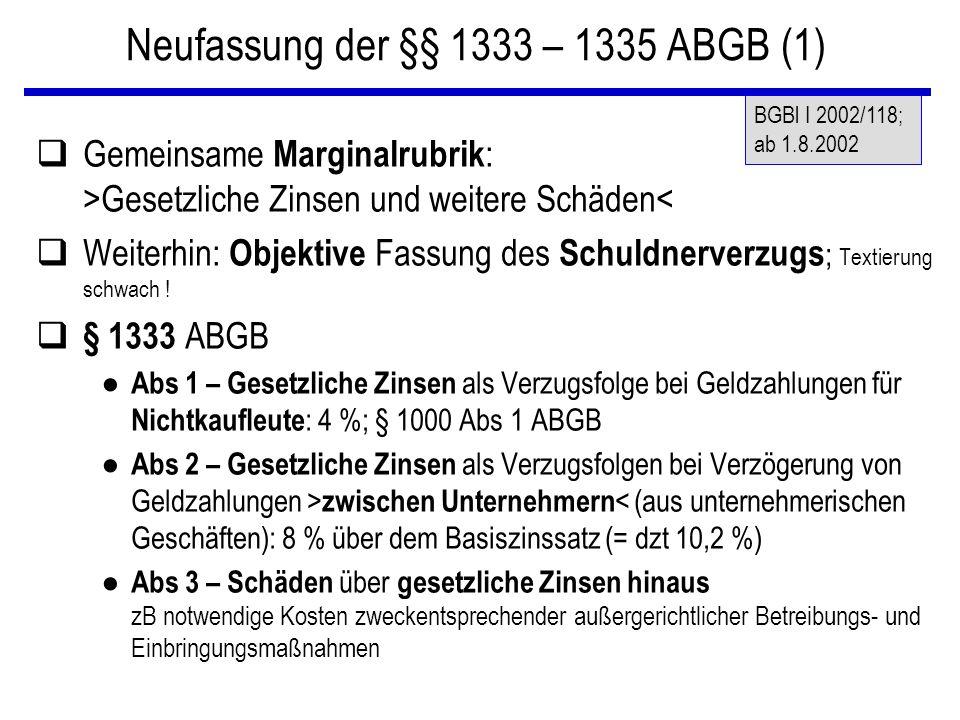 Neufassung der §§ 1333 – 1335 ABGB (1)