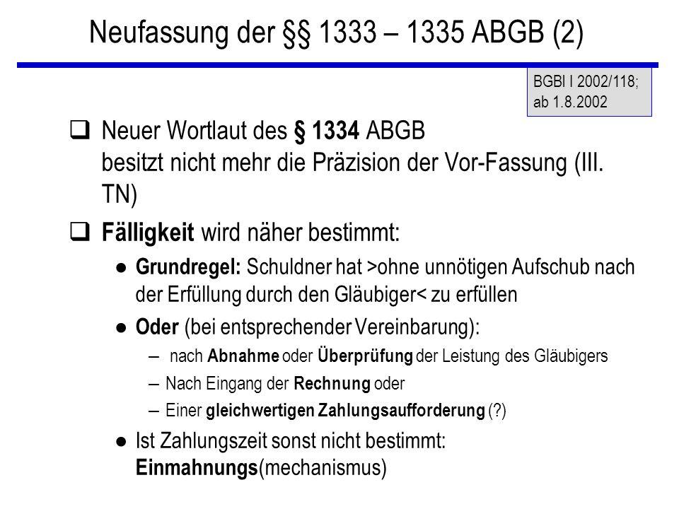 Neufassung der §§ 1333 – 1335 ABGB (2)