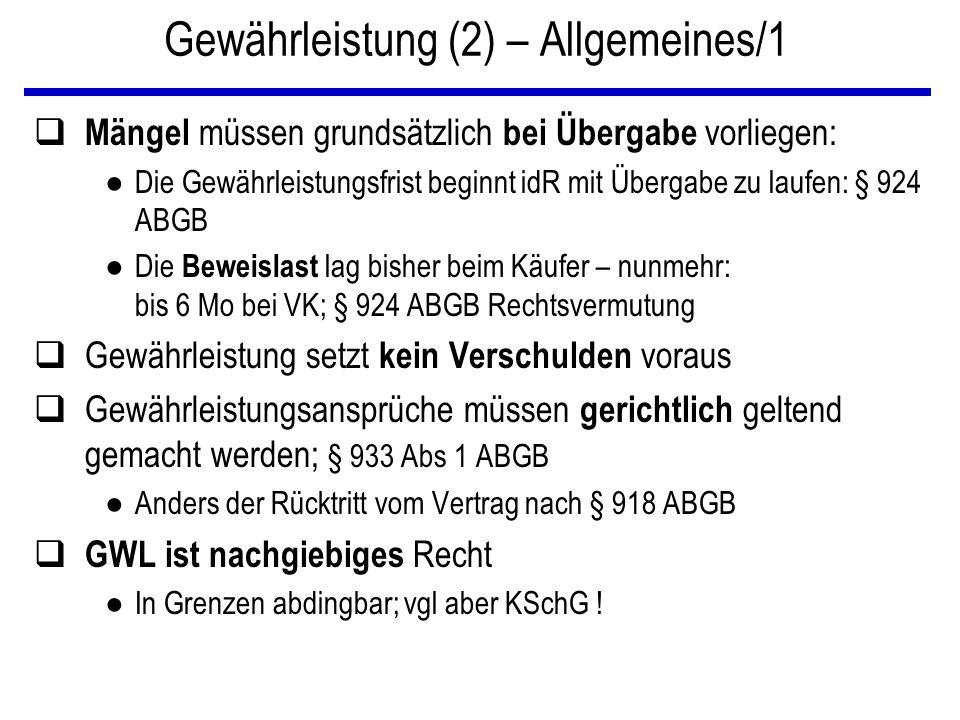 Gewährleistung (2) – Allgemeines/1