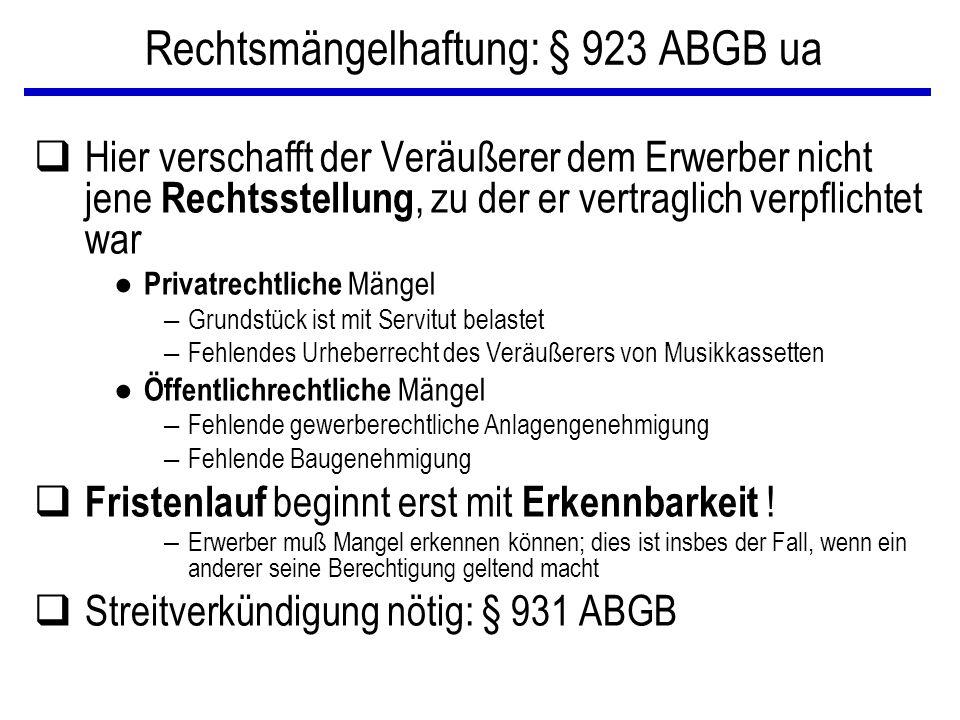Rechtsmängelhaftung: § 923 ABGB ua