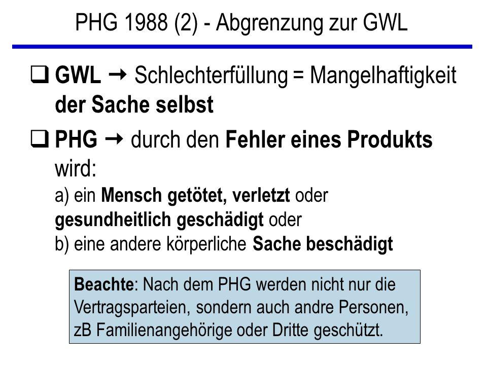 PHG 1988 (2) - Abgrenzung zur GWL