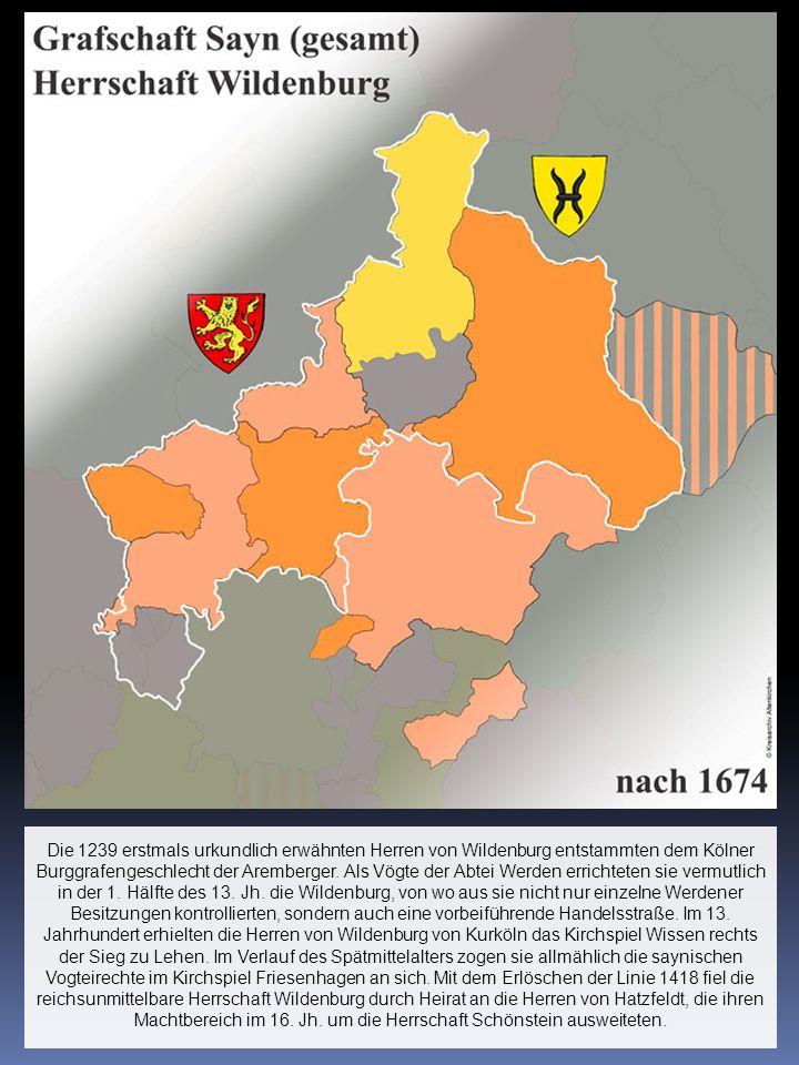 Die 1239 erstmals urkundlich erwähnten Herren von Wildenburg entstammten dem Kölner Burggrafengeschlecht der Aremberger.