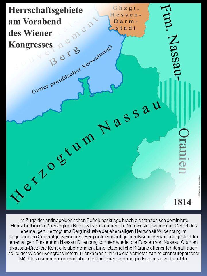 Im Zuge der antinapoleonischen Befreiungskriege brach die französisch dominierte Herrschaft im Großherzogtum Berg 1813 zusammen.