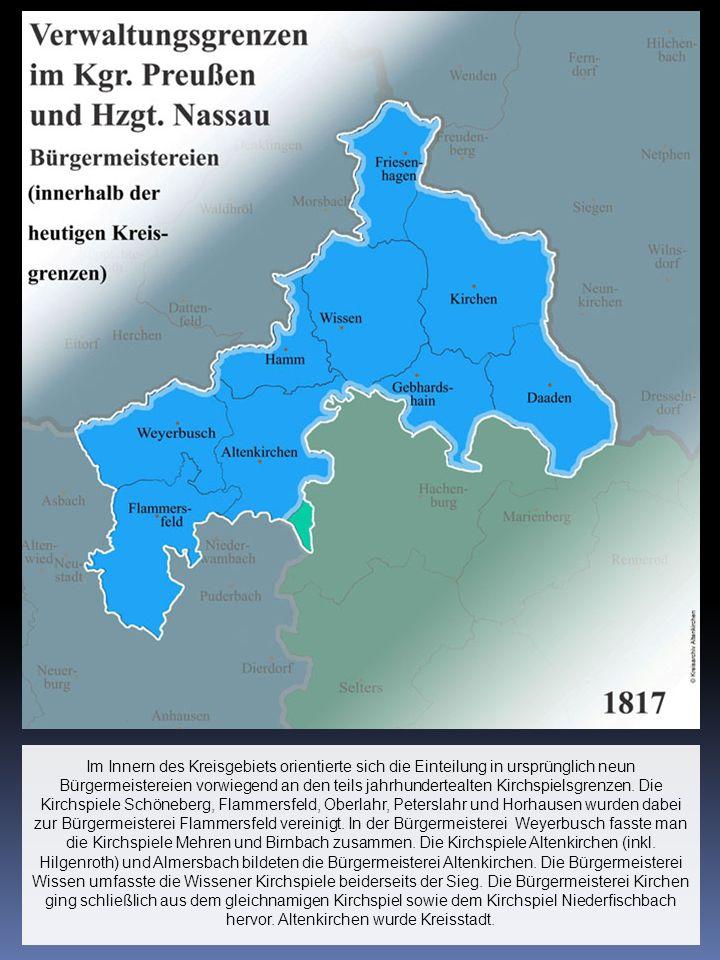 Im Innern des Kreisgebiets orientierte sich die Einteilung in ursprünglich neun Bürgermeistereien vorwiegend an den teils jahrhundertealten Kirchspielsgrenzen.