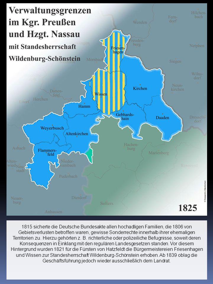 1815 sicherte die Deutsche Bundesakte allen hochadligen Familien, die 1806 von Gebietsverlusten betroffen waren, gewisse Sonderrechte innerhalb ihrer ehemaligen Territorien zu.