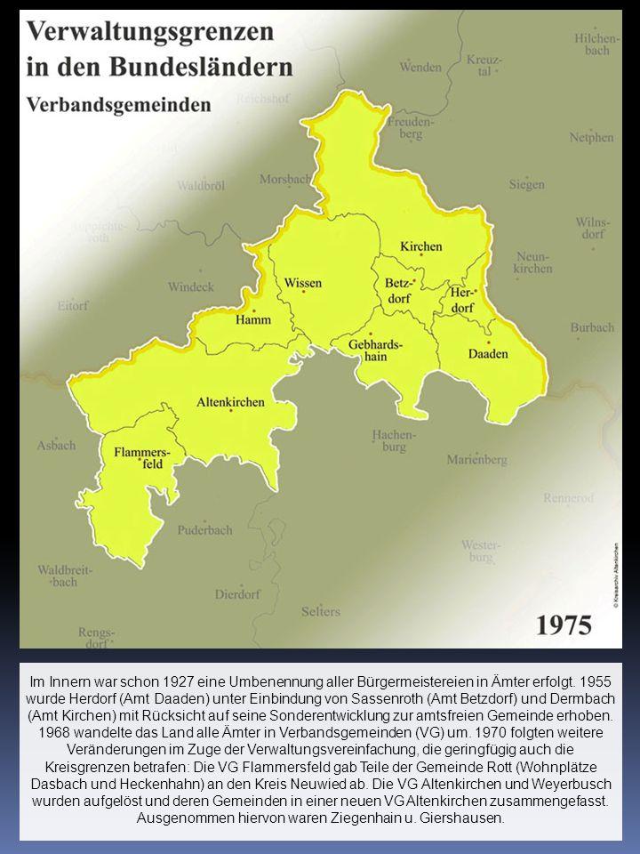 Im Innern war schon 1927 eine Umbenennung aller Bürgermeistereien in Ämter erfolgt.