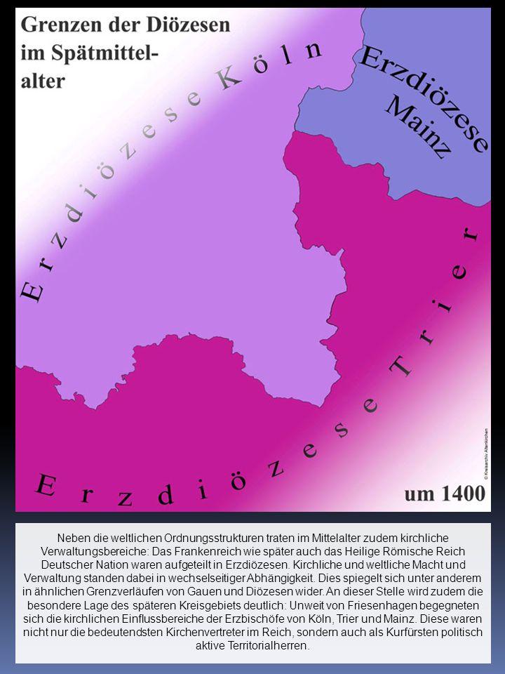 Neben die weltlichen Ordnungsstrukturen traten im Mittelalter zudem kirchliche Verwaltungsbereiche: Das Frankenreich wie später auch das Heilige Römische Reich Deutscher Nation waren aufgeteilt in Erzdiözesen.