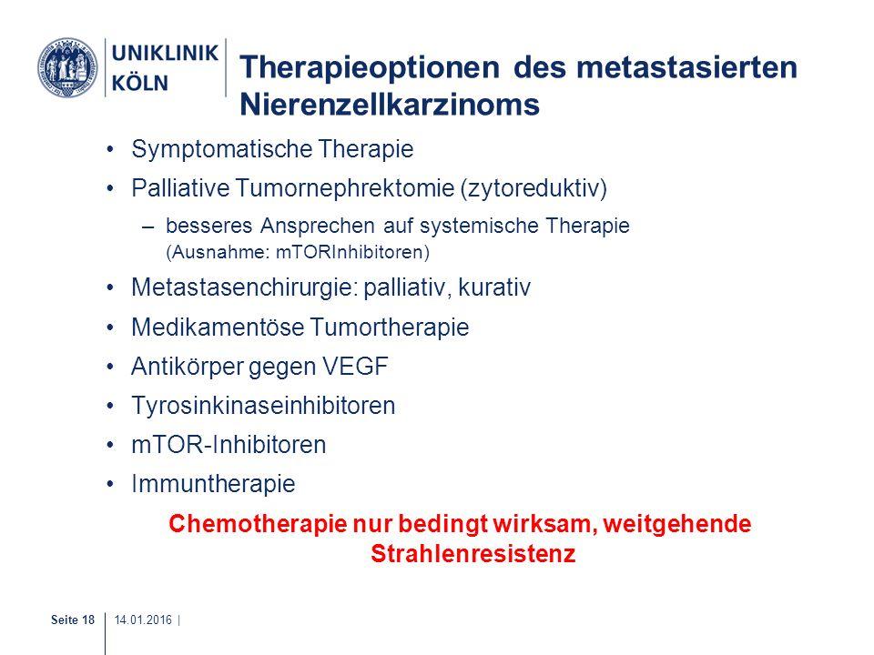 Therapieoptionen des metastasierten Nierenzellkarzinoms