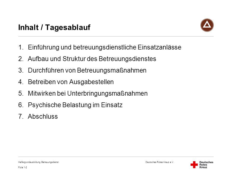 Inhalt / Tagesablauf Einführung und betreuungsdienstliche Einsatzanlässe. Aufbau und Struktur des Betreuungsdienstes.