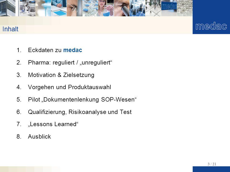 """Inhalt Eckdaten zu medac Pharma: reguliert / """"unreguliert"""
