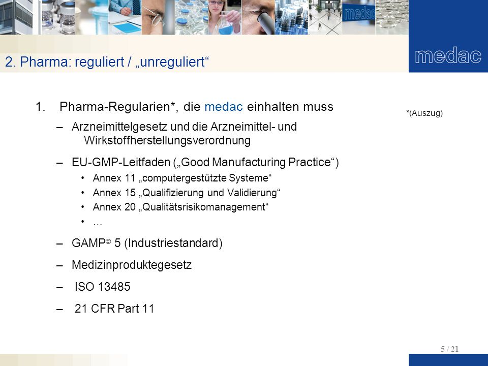 "2. Pharma: reguliert / ""unreguliert"