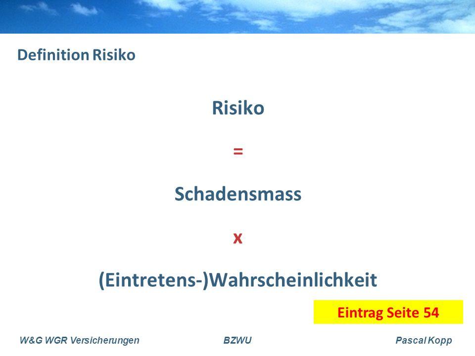 Risiko = Schadensmass x (Eintretens-)Wahrscheinlichkeit