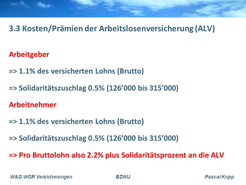 3.3 Kosten/Prämien der Arbeitslosenversicherung (ALV)