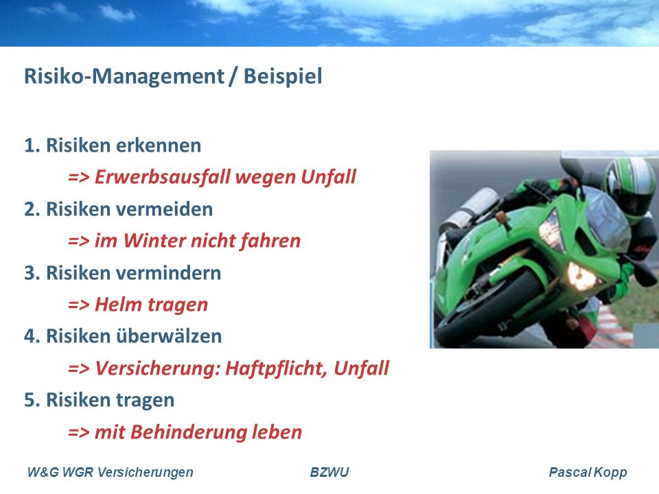 Risiko-Management / Beispiel