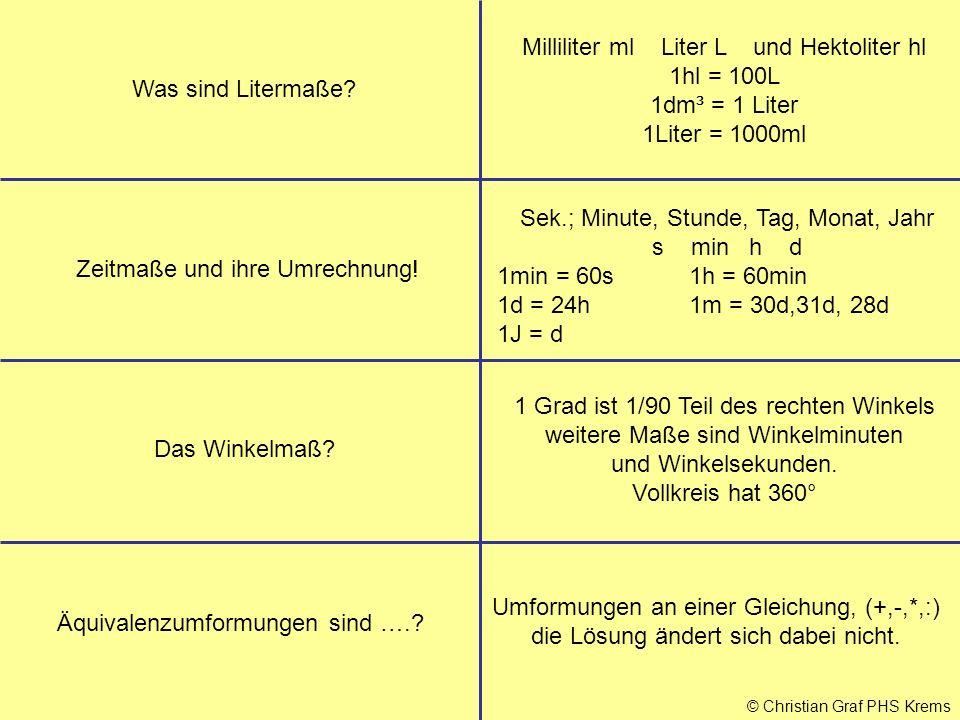 Milliliter ml Liter L und Hektoliter hl 1hl = 100L 1dm³ = 1 Liter